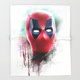 dead pool abstract watercolor portrait painting | Original Fan Art Throw Blanket