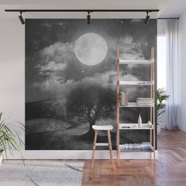 Black and white - Once upon a time... The lone tree. Wall Mural