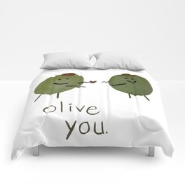 Olive you (watercolor) Comforters