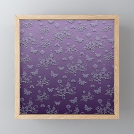Flowers & butterflies in purple Framed Mini Art Print