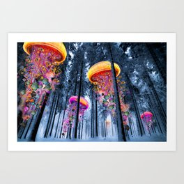 Winter Forest of Electric Jellyfish Worlds Art Print