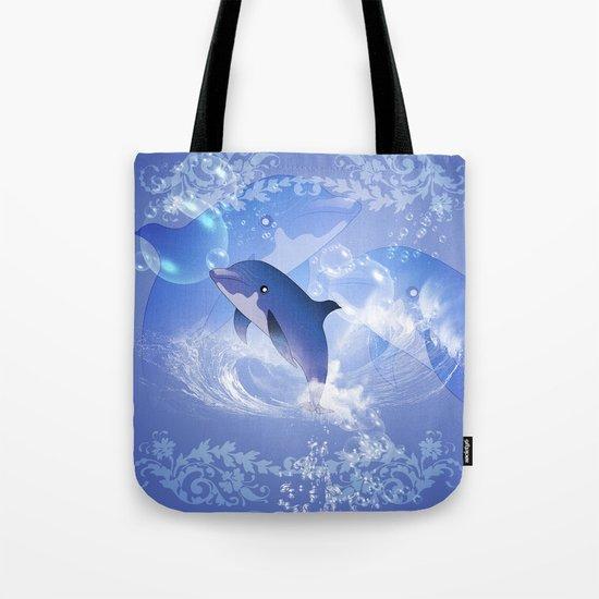 Funny cartoon dolphin Tote Bag