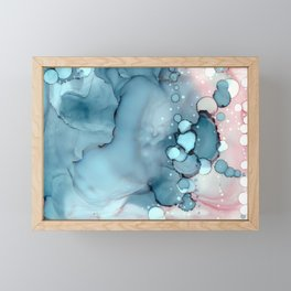 Becoming Abstract Painting Pink Blue Framed Mini Art Print