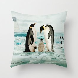 Emperor Penguin Family Throw Pillow