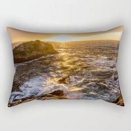 In Waves - Waves Crashing Into Rocks at Sunset In Big Sur Rectangular Pillow