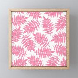 Modern girly pink botanical tropical leaves Framed Mini Art Print