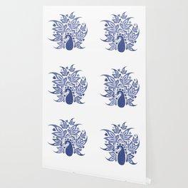 Hamptons Blue Peacock Art Wallpaper