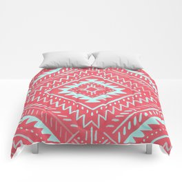 Watercolor Geometric - Guava Mint Comforters