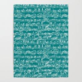 Hand Written Sheet Music // Teal Poster