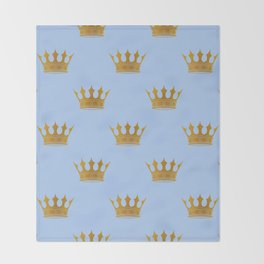 Louis Blue Gold Crown Prince of Cambridge Throw Blanket