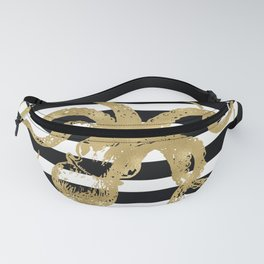Gold Octopus on Black & White Stripes Fanny Pack