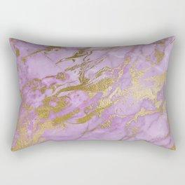 Lavender Gold Marble Rectangular Pillow