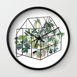 greenhouse with plants Wall Clock
