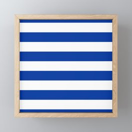 Dark Princess Blue and White Wide Horizontal Cabana Tent Stripe Framed Mini Art Print