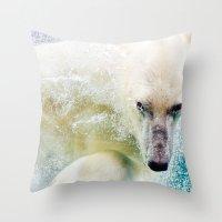 polar bear Throw Pillows featuring Polar Bear by Pati Designs & Photography