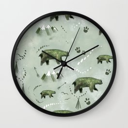 Bears and mountains pattern green Wall Clock