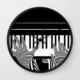 B&W Pianist Wall Clock
