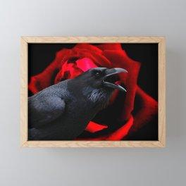 Crow Black Bird Red Rose Flower Gothic Home Decor Fantasy Art A590 Framed Mini Art Print