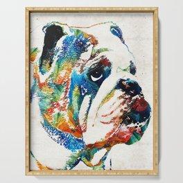 Bulldog Pop Art - How Bout A Kiss - By Sharon Cummings Serving Tray