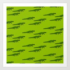 Alligators-Green Art Print