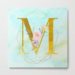 Gold Foil Alphabet Letter M Initials Monogram Frame with a Gold Geometric Wreath Metal Print