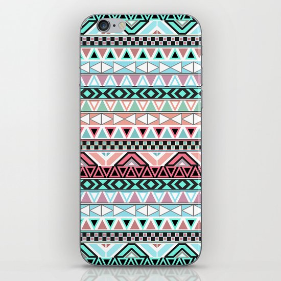 Pastel me | Andes Teal Pink Cute  Abstract Aztec Pattern iPhone & iPod Skin
