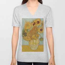 Vase with Twelve Sunflowers, Van Gogh Unisex V-Neck