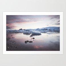 Sunset over Glacier Lagoon Art Print