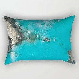 Turquoise & Gold Rectangular Pillow
