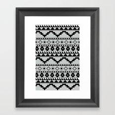 Aztec Pattern 2 Gray & Black Framed Art Print