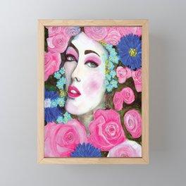 Rose face beautiful lady watercolour painting Framed Mini Art Print
