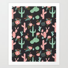 Cactus florals dark charcoal colorful trendy desert southwest house plants cacti succulents pattern Art Print