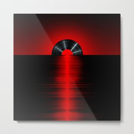 Vinyl sunset red Metal Print