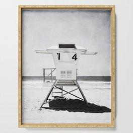 Black and White Beach Photography, Grey Lifeguard Stand, Gray Coastal Nautical Art Serving Tray