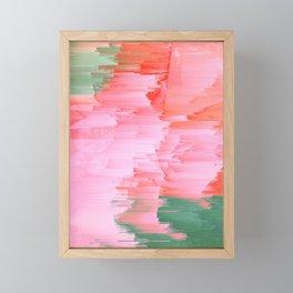 Romance Glitch - Pink & Living coral Framed Mini Art Print
