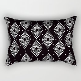 Mudcloth Dotty Diamonds in Black + White Rectangular Pillow