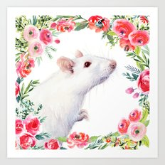 White Rat with Flowers Watercolor Floral Pattern Animal Art Print