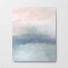 Blush Pink Mint Sky Baby Blue Abstract Ocean Sky Sunrise Wall Art Water Clouds Painting Print Metal Print