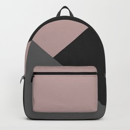 Dusty Blush meets Charcoal & Gray Geometric #1 #minimal #decor #art #society6 Backpack