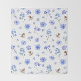 Elegant lavender brown watercolor honey bee floral Throw Blanket