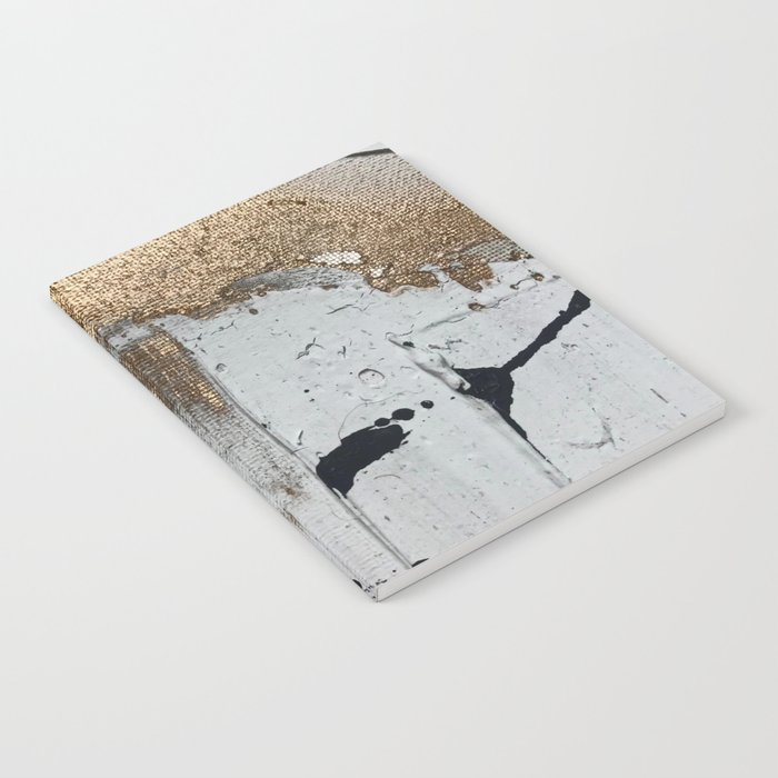 Still: an abstract mixed media piece in black, white, and gold by Alyssa Hamilton Art Notebook