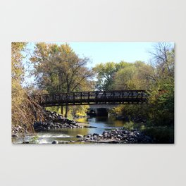 Bridge Over Calm River Photo Canvas Print