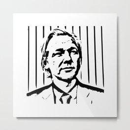 Julian Assange Portrait Silhouette Metal Print