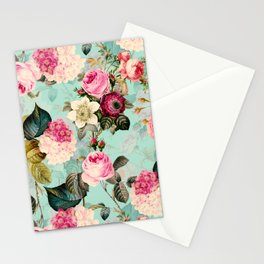 Vintage & Shabby Chic - Summer Teal Roses Flower Garden Stationery Cards