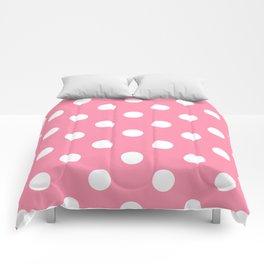 Polka Dots - White on Flamingo Pink Comforters