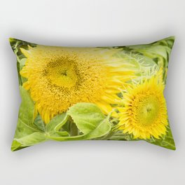 Teddy Bear Sunflowers Rectangular Pillow