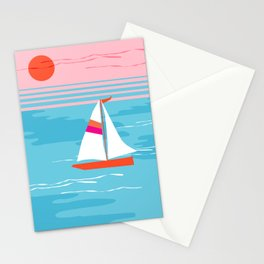Mellow Out - memphis throwback retro classic neon yacht boating sailboat ocean sea 1980s 80s pop art Stationery Cards