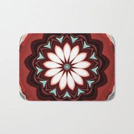 Decorative Deep Red and White Flower Design Badematte