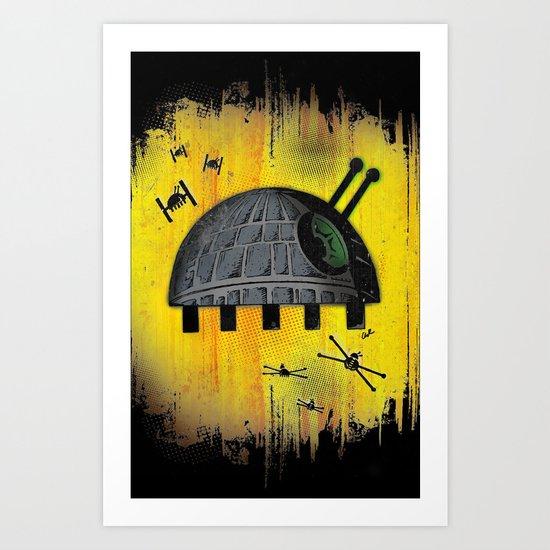 Death Star Bug – Yellow background Art Print