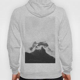 Misty Mountain Peak Black & White Minimalist Landscape Photography Hoody
